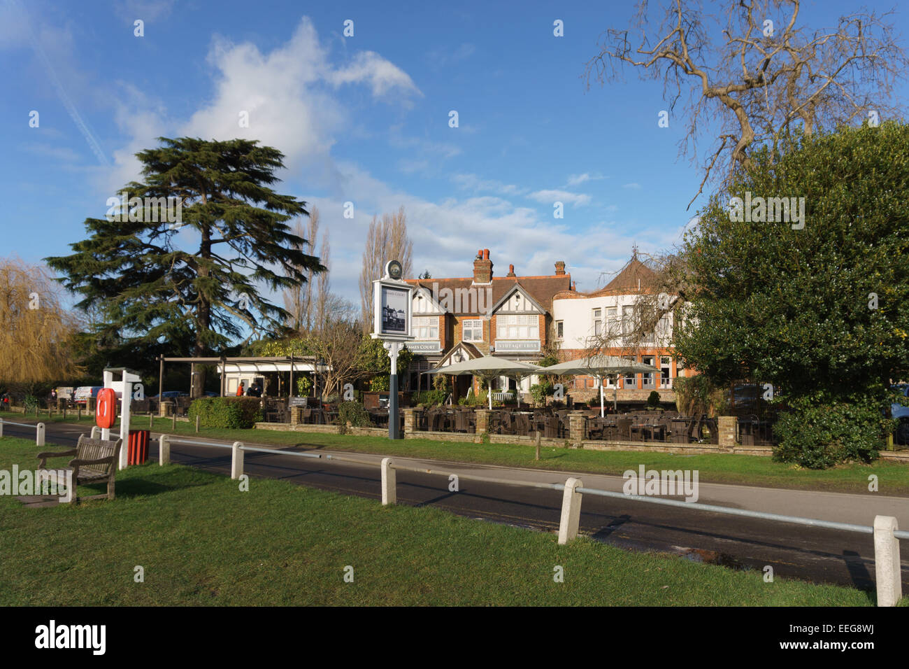 The Thames Court in on the River Thames in Shepperton, UK near London on a bright sunny day - Stock Image