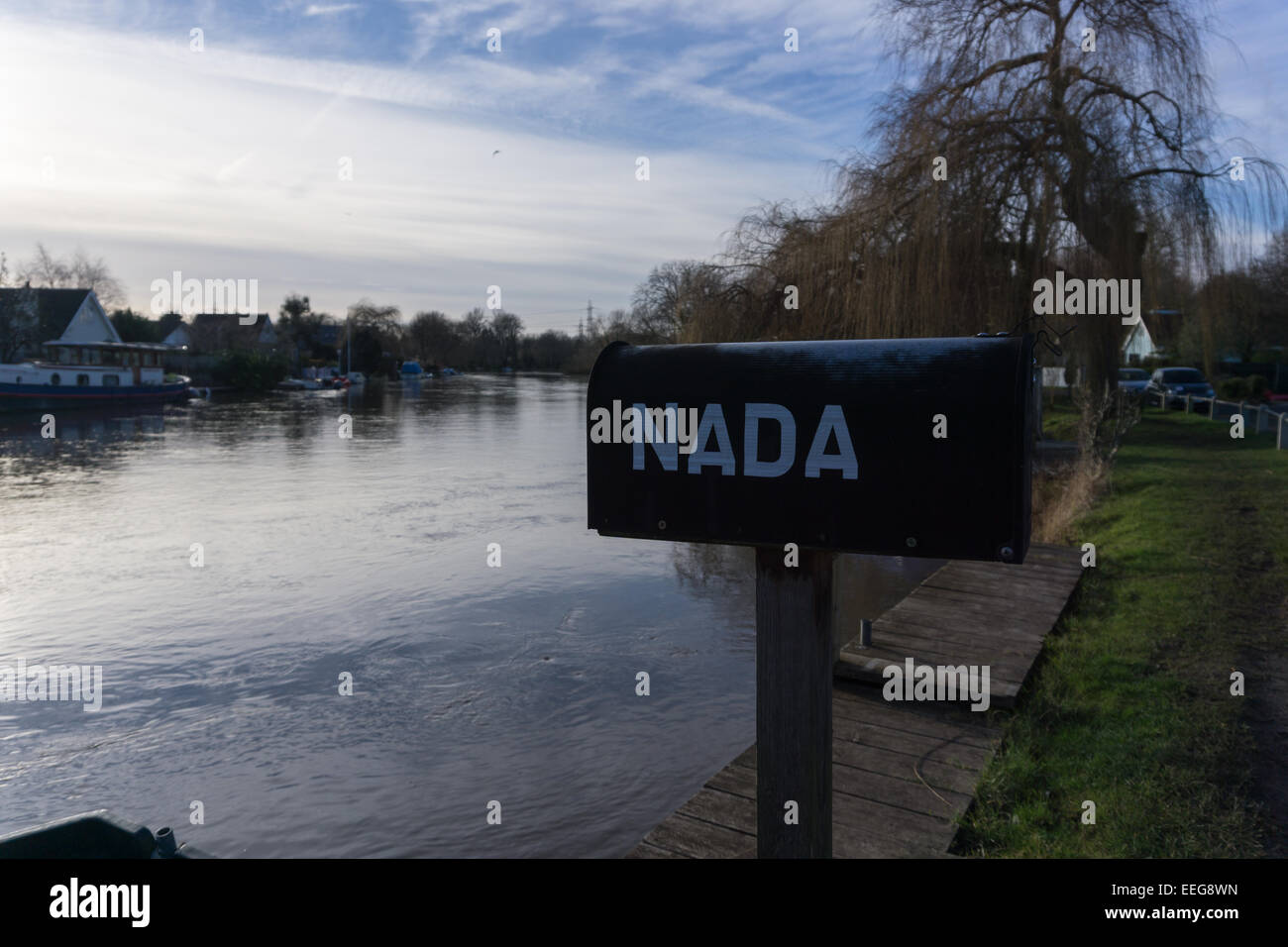The letterbox of one of the houses on Pharaoh's Island in Shepperton near London Stock Photo