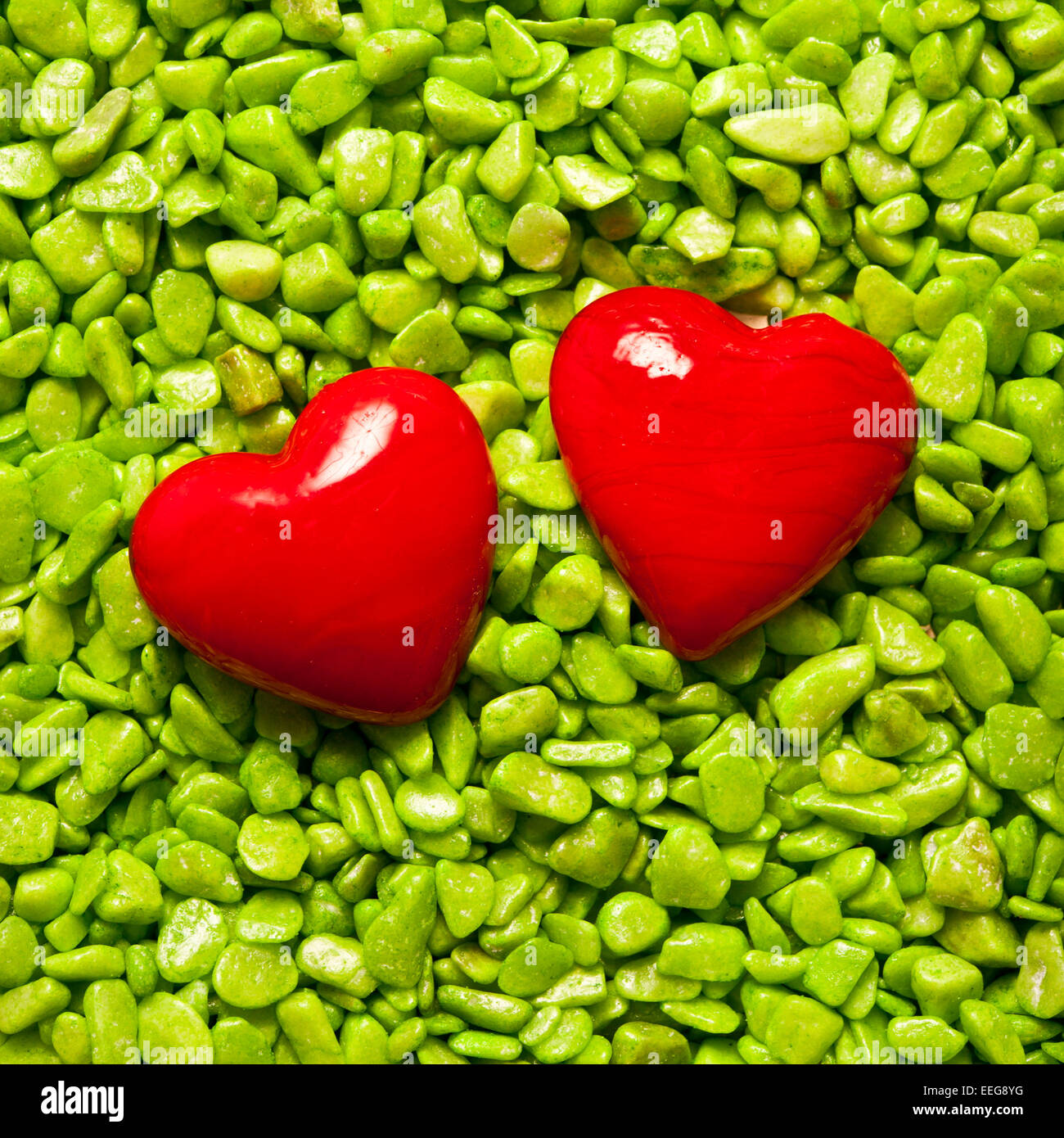 two valentine hearts shapes, love concept - Stock Image