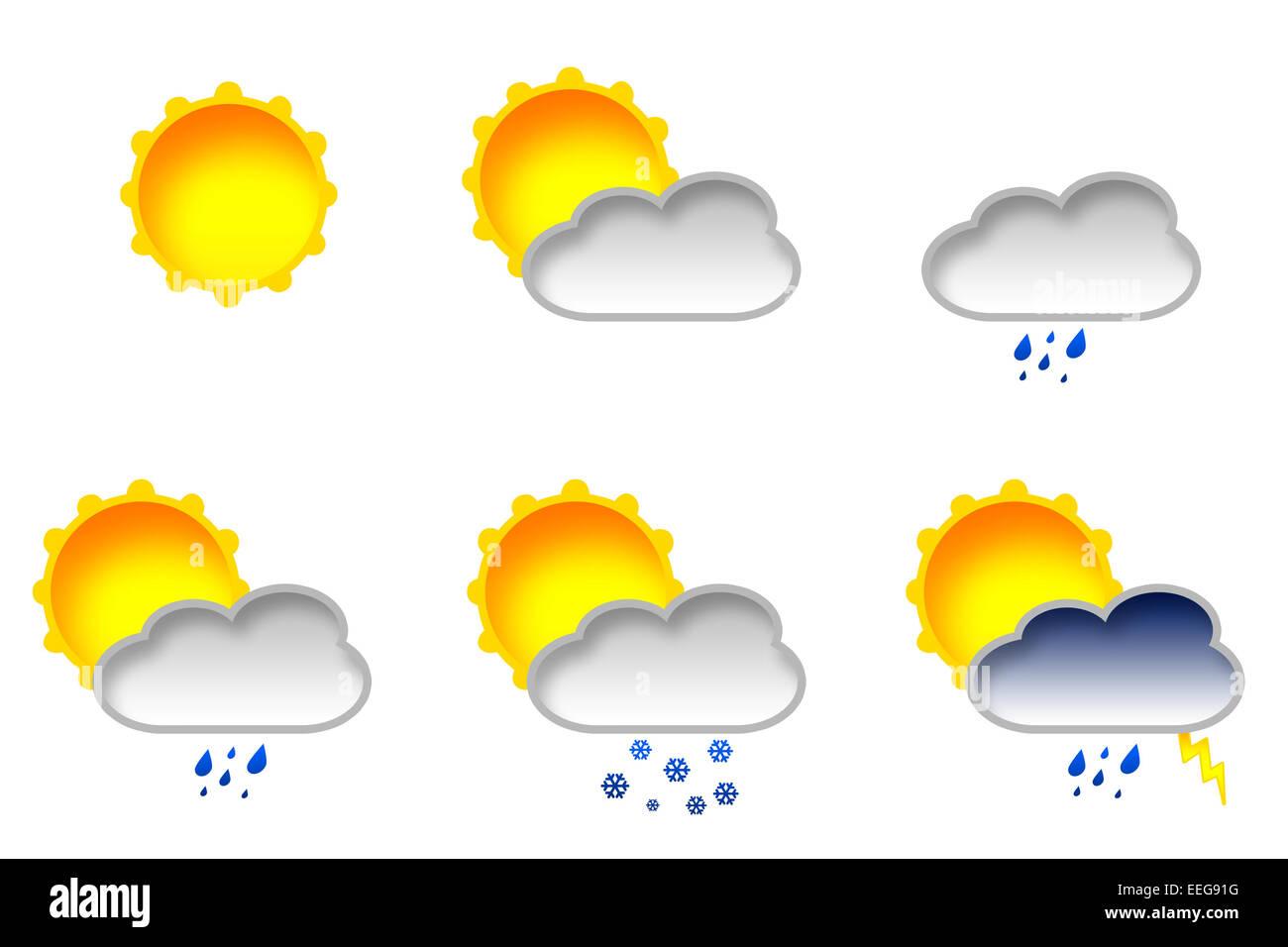 Weather Icon - sun, cloud and rain - Stock Image