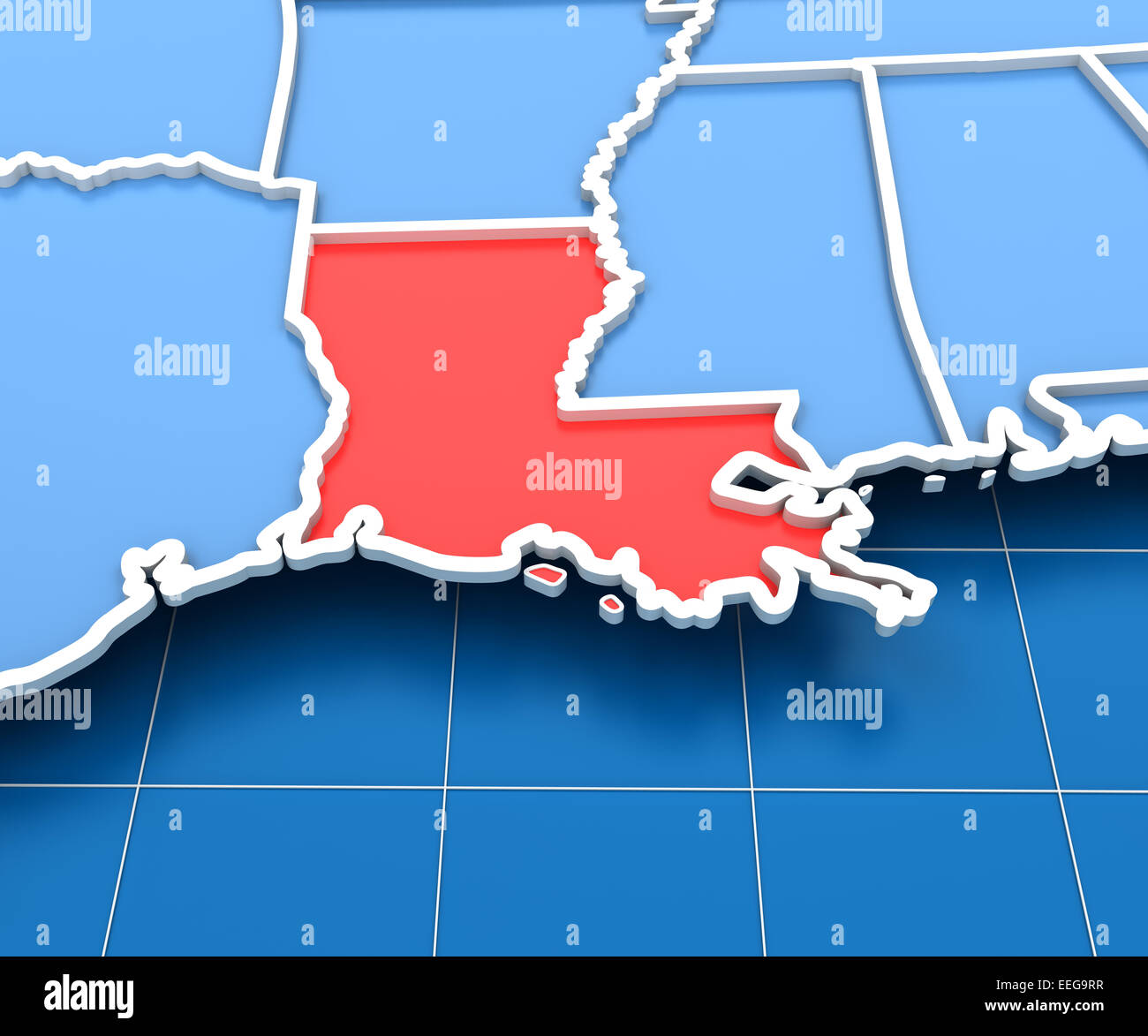 3d Render Of Usa Map With Louisiana State Highlighted Stock Photo
