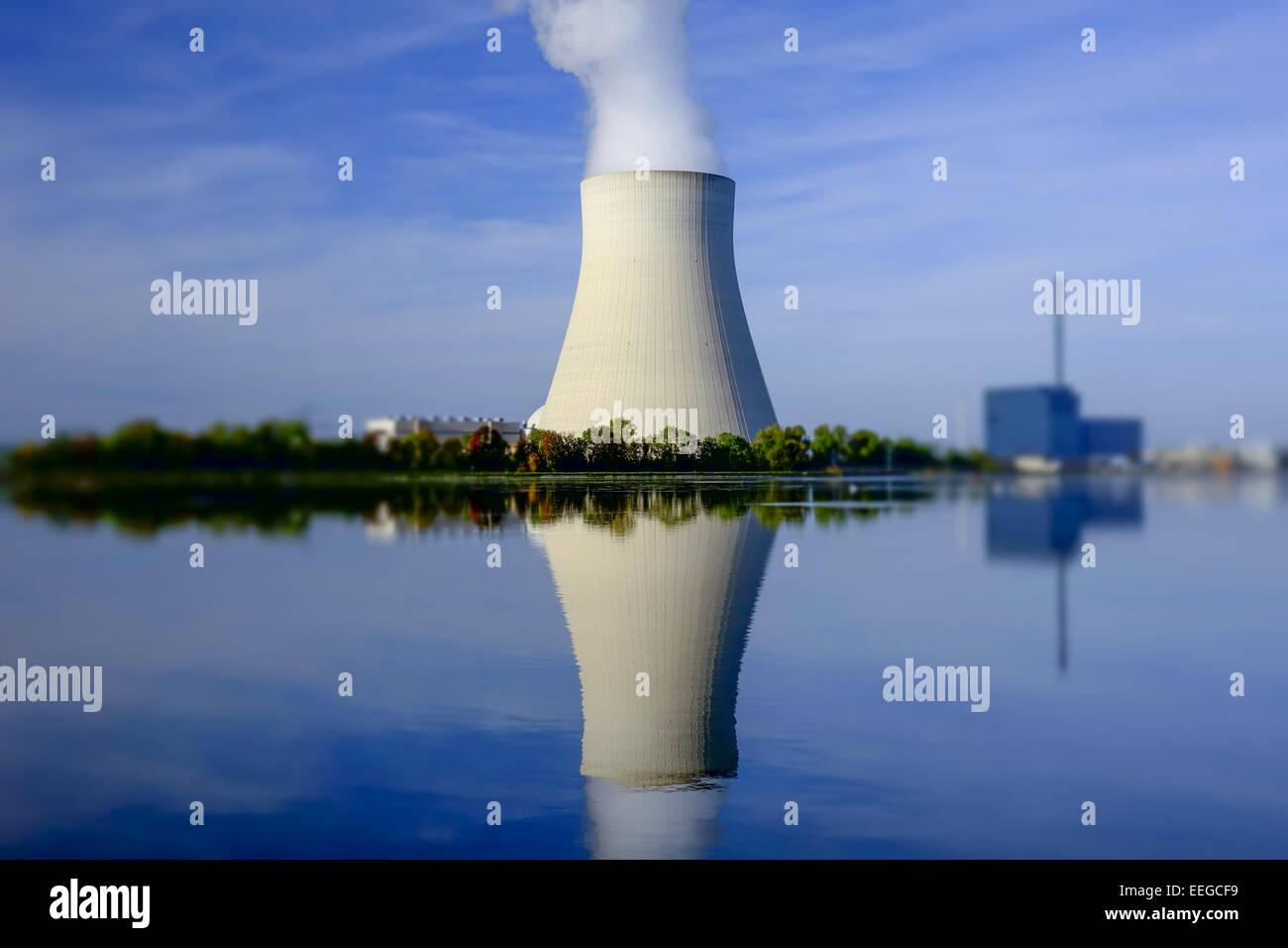 Atomkraftwerk Ohu bei Landshut, Bayern, Deutschland, Nuclear power plant Ohu near Landshut, Bavaria, Germany, Nuclear, - Stock Image