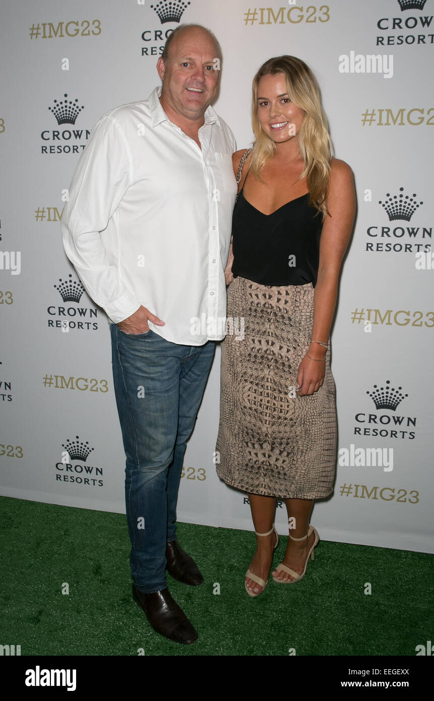 Billy Brownless and Vicky Brownless arrive for Crown's IMG@23 Tennis Players' Party, Melbourne, Australia. - Stock Image