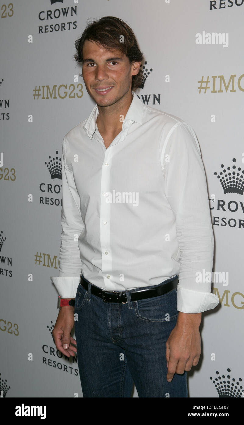 Rafael Nadal arrives for Crown's IMG@23 Tennis Players' Party, Melbourne, Australia,18th Jan, 2015. Stock Photo
