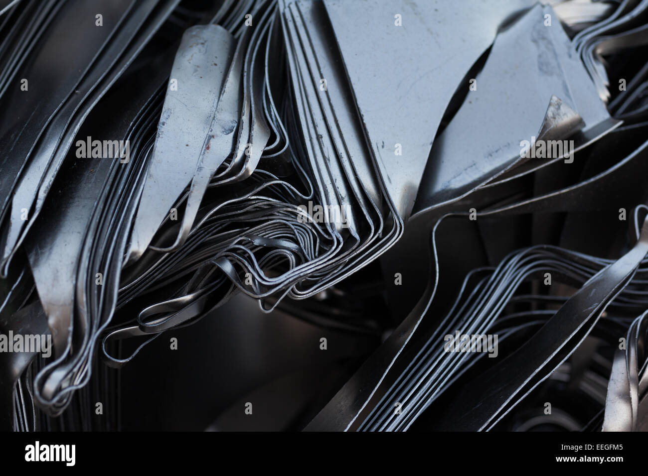 pressed metal plates for recycling. abstract background Stock Photo