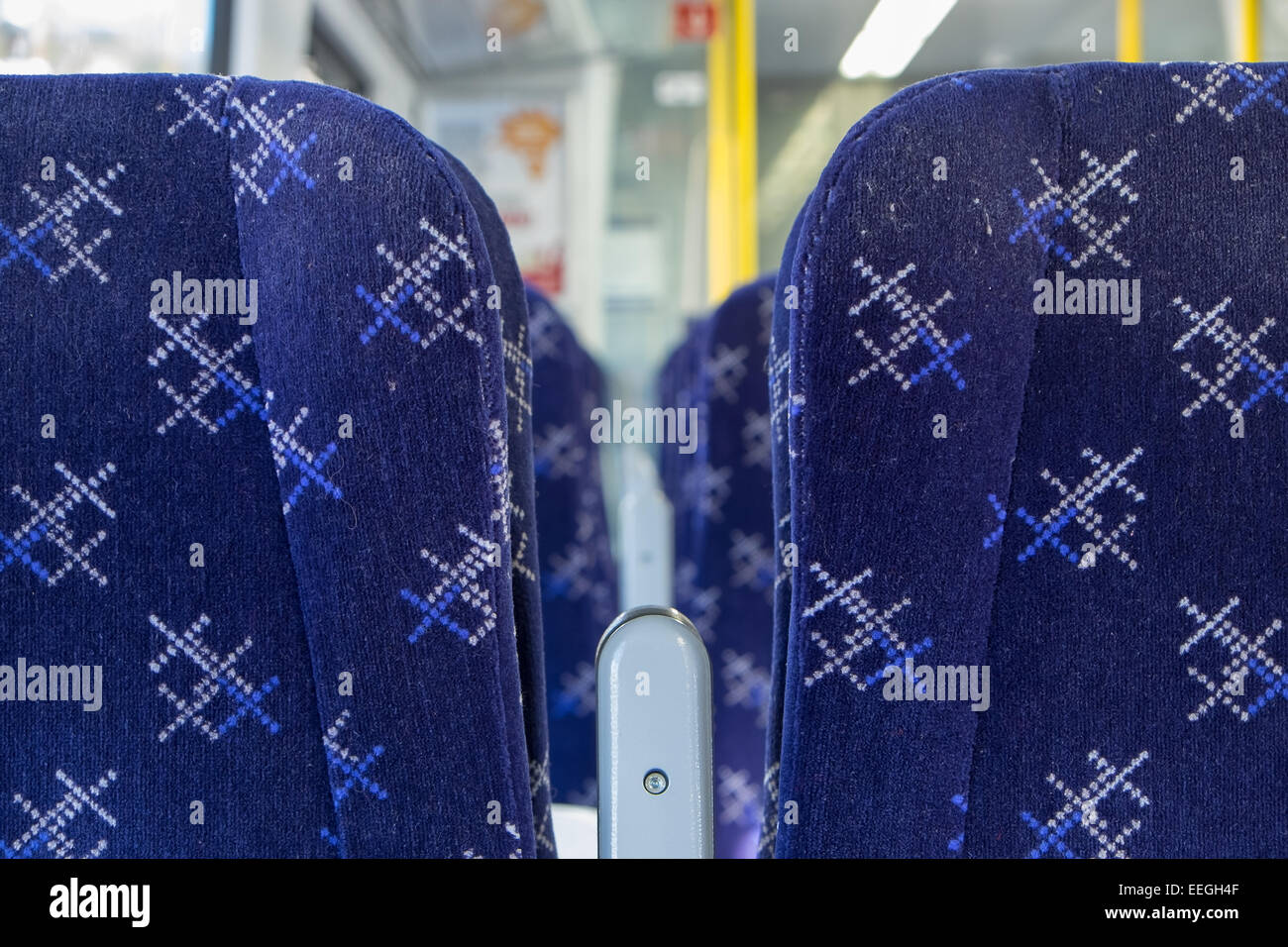 Seats on a Scotrail train with their logo. - Stock Image