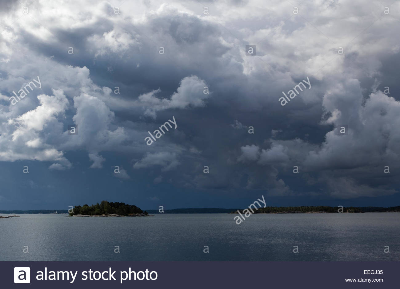 Dark sky and clouds in the morning - Stock Image