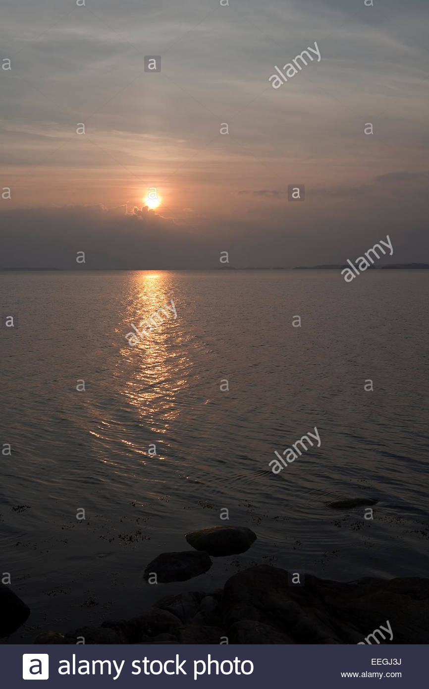 Sunrise in the archipelago at Finland - Stock Image