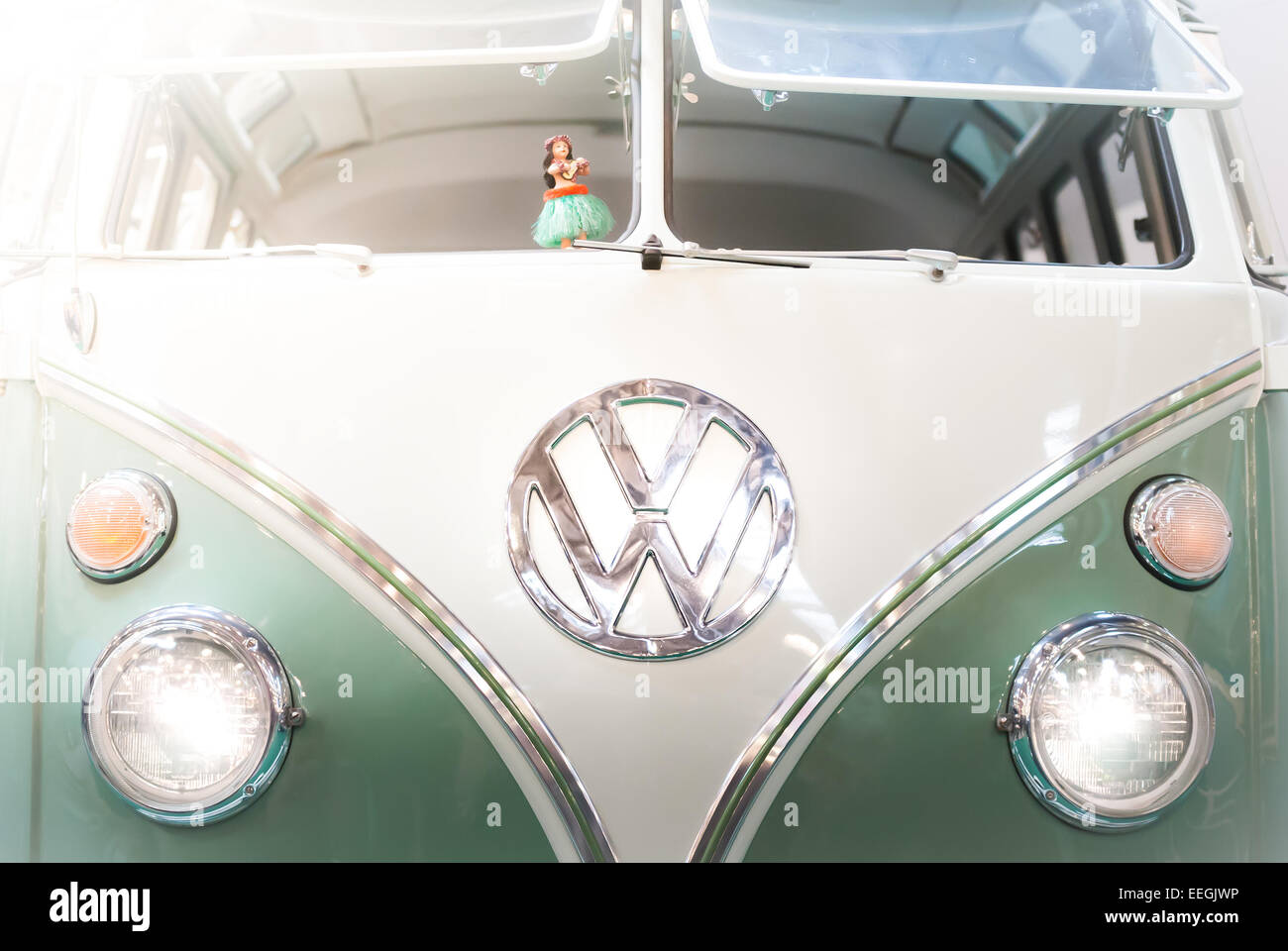 Moscow, Russia - March 3, 2013: Front view of a green and white 1960s VW campervan with the iconic volkswagen badge Stock Photo