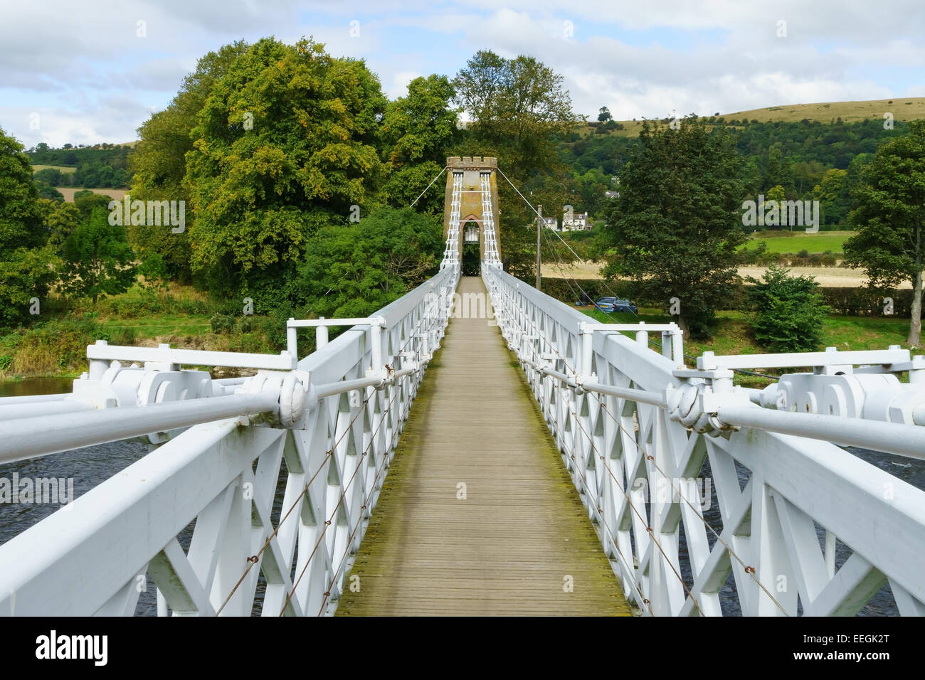 The iron suspension chainbridge across the River Tweed at Melrose, Scottish Borders. - Stock Image