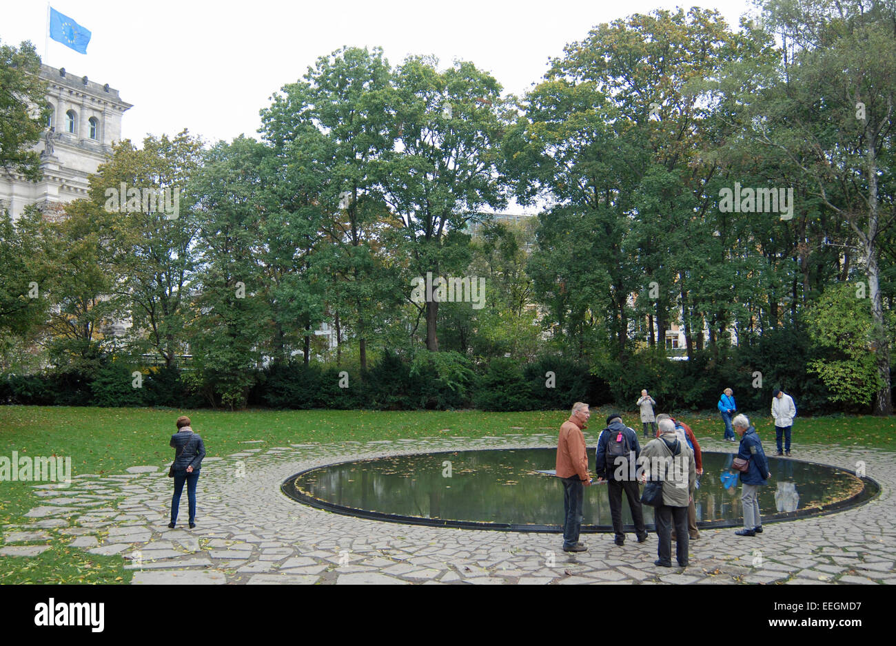 Memorial dedicated to the Roma and Sinti, victims of the Nazi genocide. Stock Photo