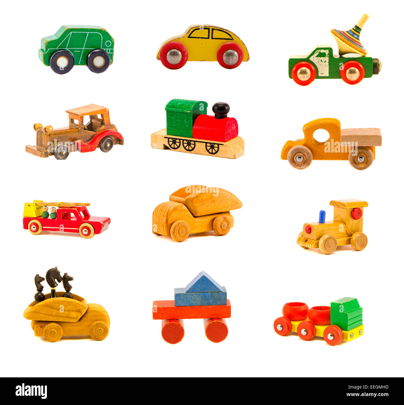 collection old wooden colorful various car truck toys model isolated on white. Twelve objects - Stock Image