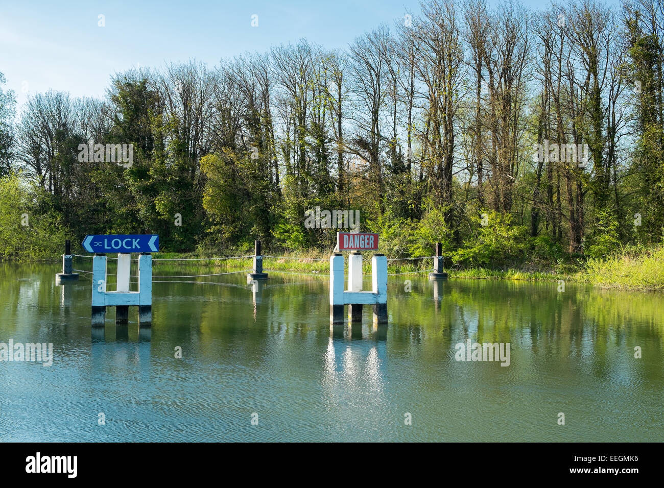 Direction signs for boats to the lock on the River Thames at Abingdon, Oxfordshire. Stock Photo