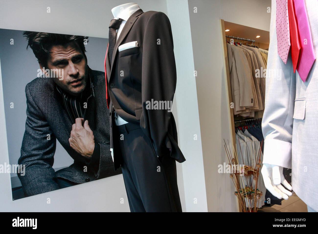 shop with men's fashion, Prague Czech Republic - Stock Image