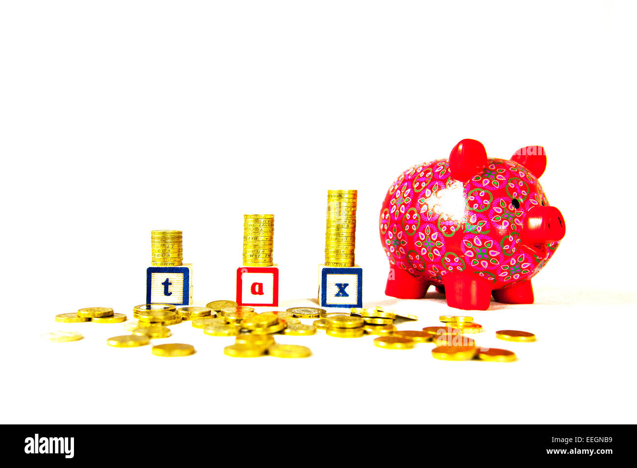 tax rising money cost cash piles stacks word coins pounds pound vat revenue income cut out copy space white background - Stock Image