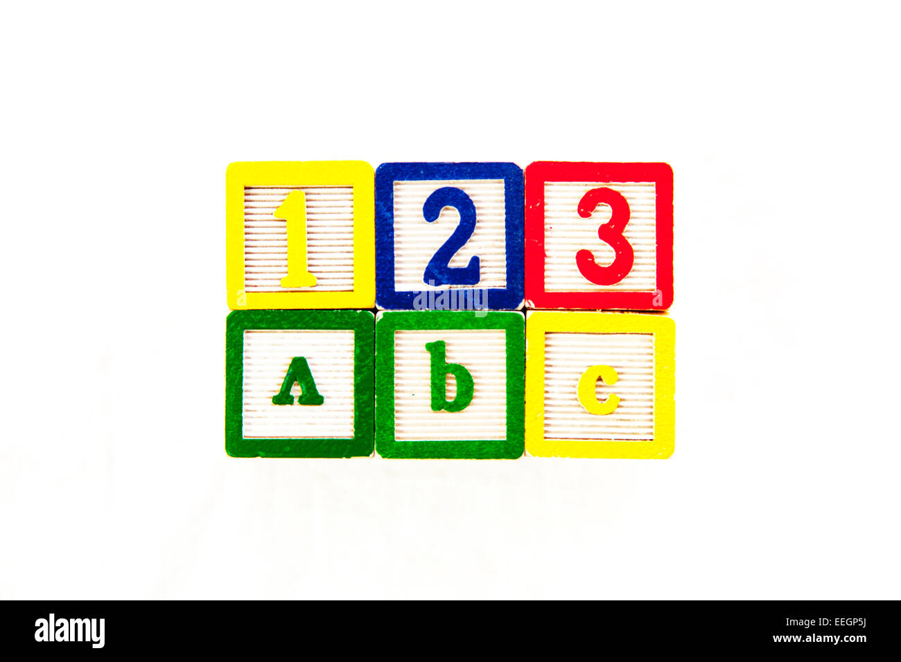 123 ABC education numbers words learning learn educate school schooling word blocks cut out copy space white background - Stock Image