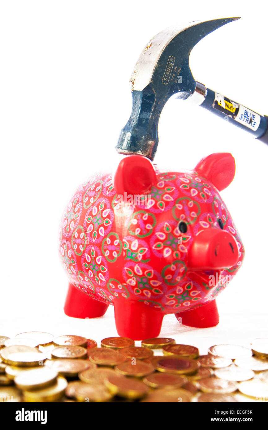 savings saving money costs cost rise raise raising cash raiding piggy bank fund funds cut out copy space white background - Stock Image