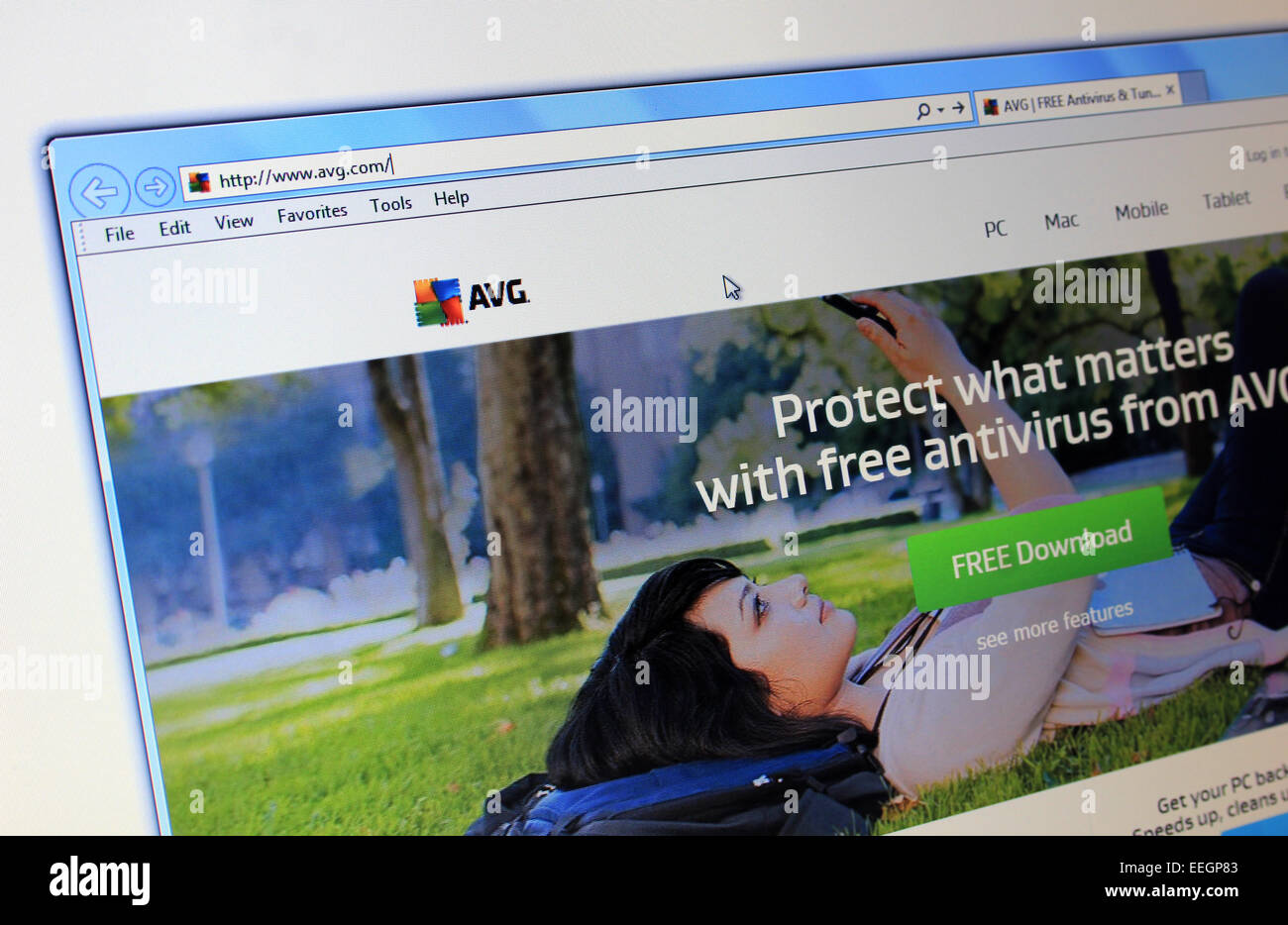 AVG antivirus website - Stock Image