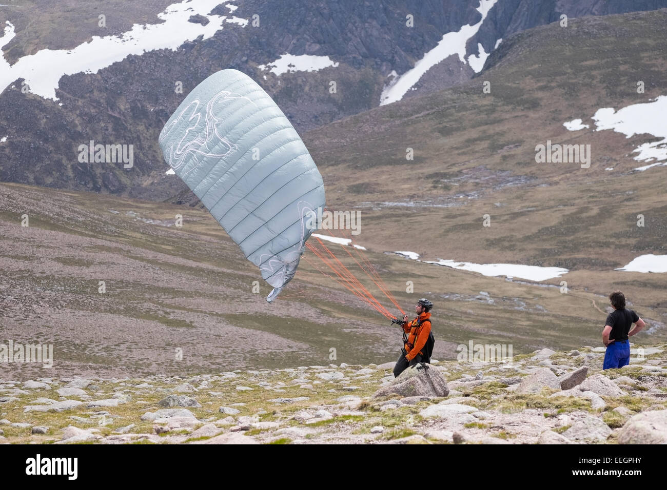 Paragliding from the top of Cairngorm mountain, Scotland. - Stock Image