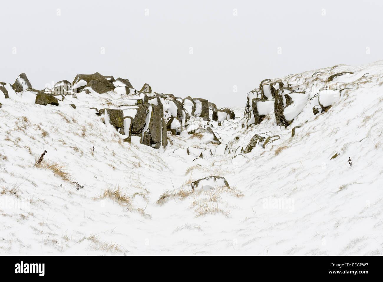 Limestone Corner on Hadrian's Wall - Stock Image