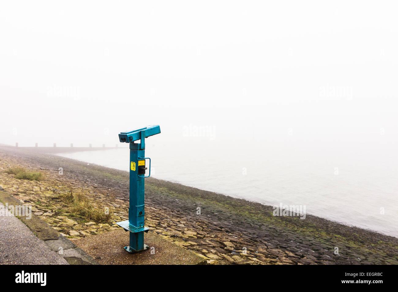Seaside viewpoint binoculars. - Stock Image