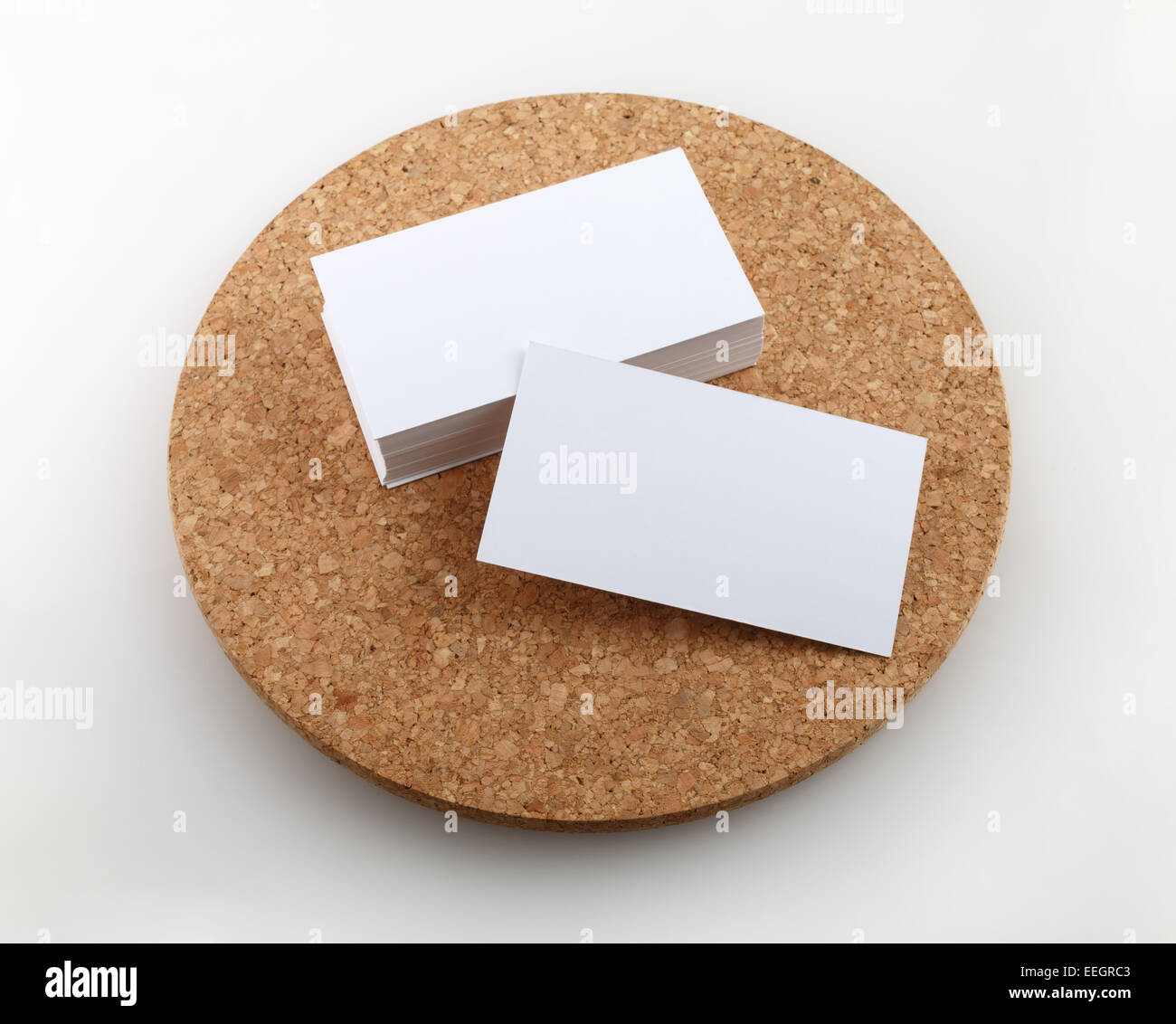 Blank business cards on a round cork base. Clipping path Stock Photo ...
