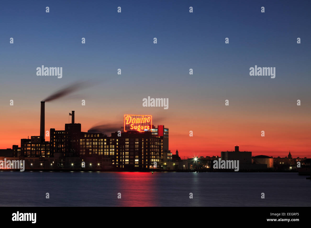 The iconic Domino Sugars sign at the Inner Harbor in Baltimore, Maryland - Stock Image