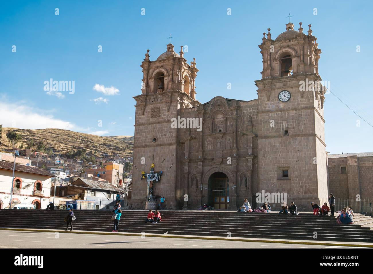 Puno Cathedral in Plaza de Armas, Puno, Peru Stock Photo