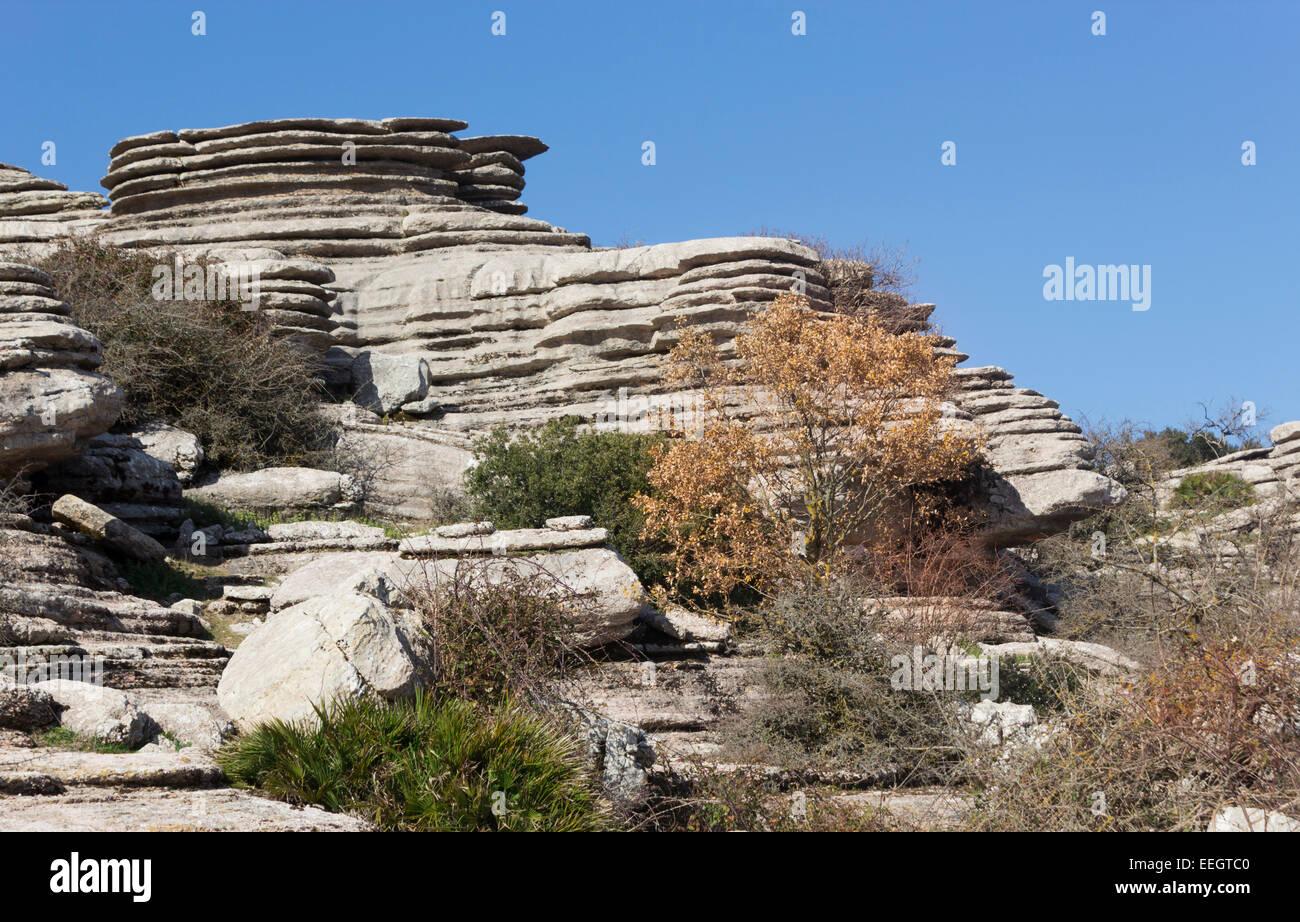 El Torcal de Antequera, Sierra del Torcal, Antequera, Málaga, Andalusia, Spain. Karstic landscape. - Stock Image