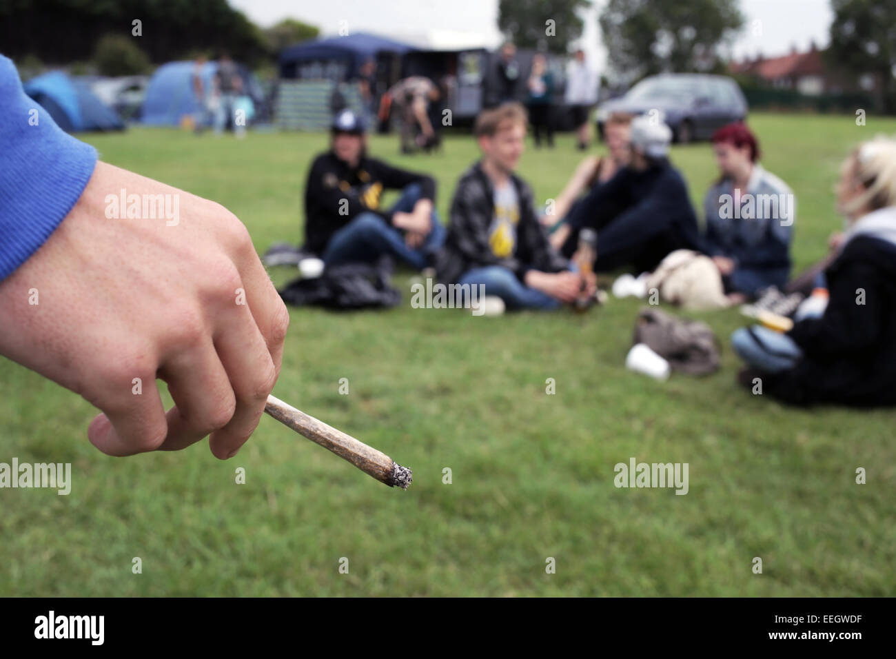A skunk cannabis joint at a cannabis festival in Redcar, Teesside, UK. - Stock Image