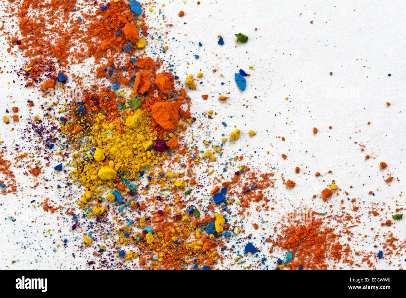 Colorful Pastel Chalk Crumbs - Stock Image
