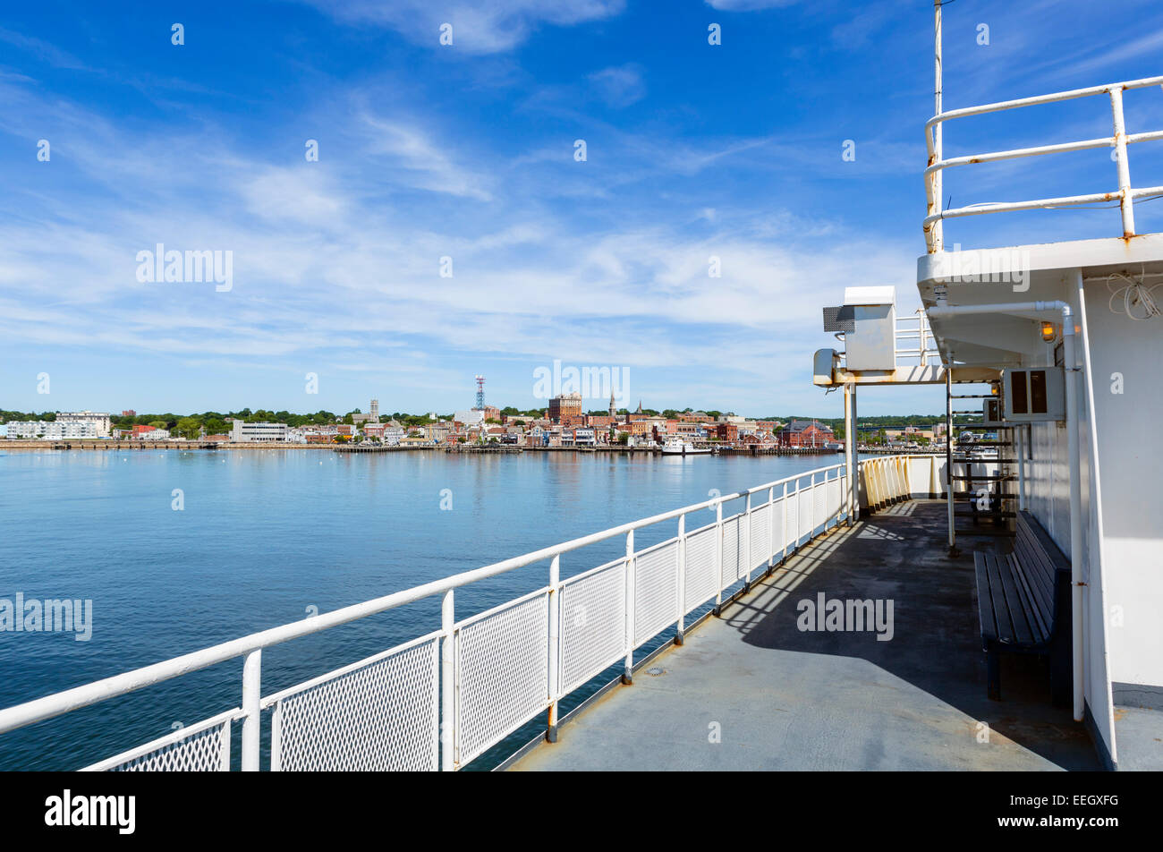 The Cross Sound Ferry on the Thames River approaching New London, CT, North Eastern USA - Stock Image