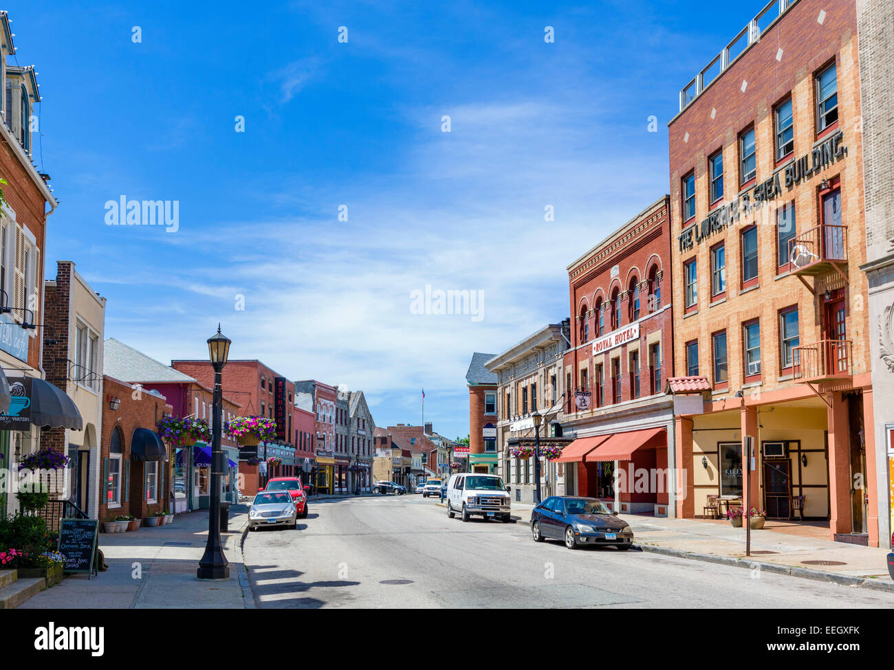 Bank Street in downtown New London, Connecticut, USA - Stock Image