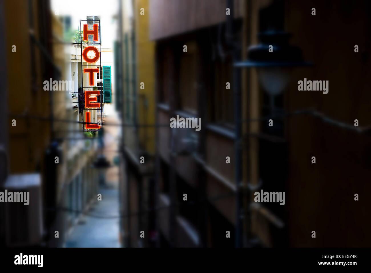 Hotel in der Altstadt von Genua, Italien - Stock Image