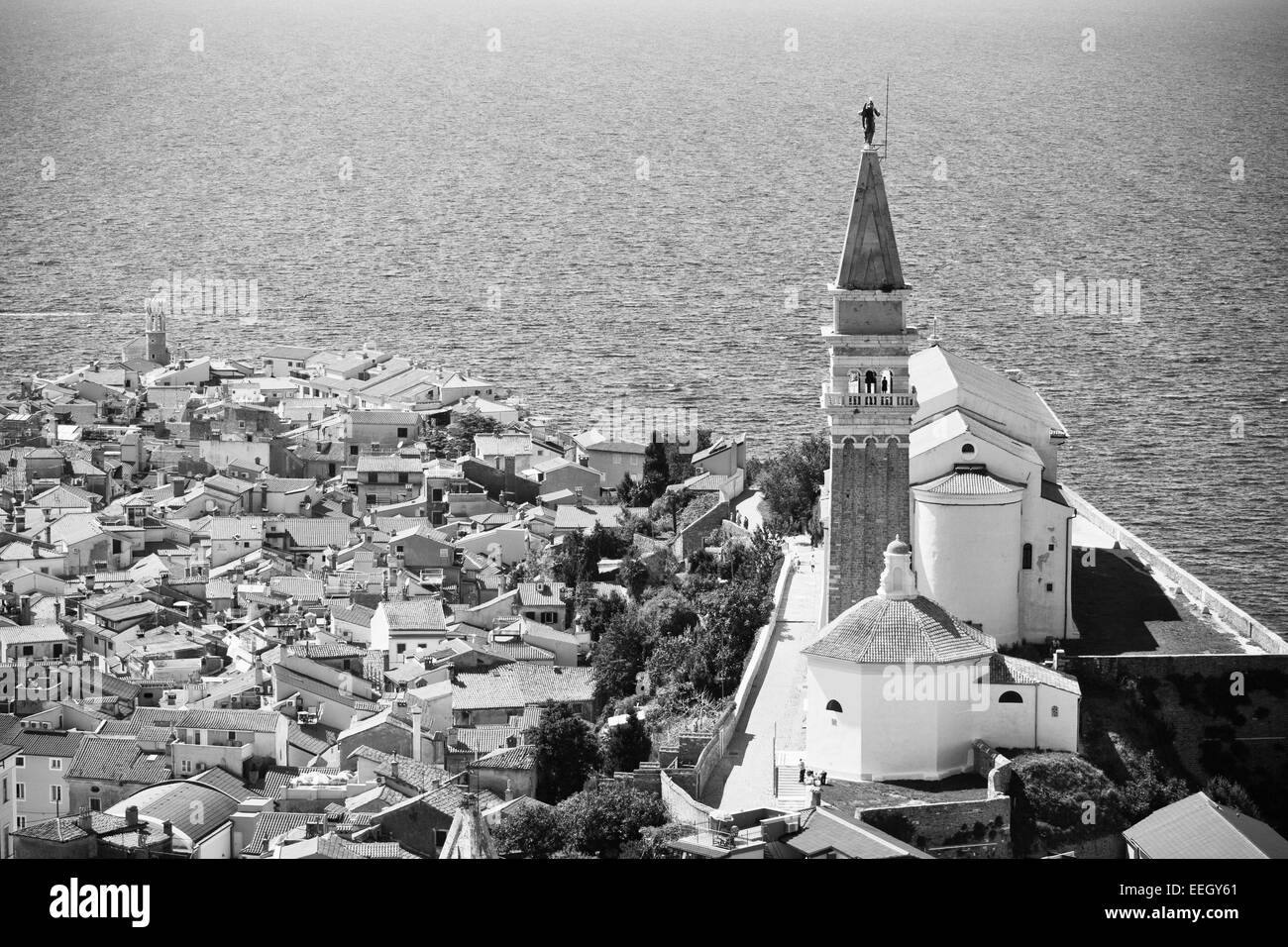 St. George's Parish Church in old town Piran - Slovenian - Stock Image