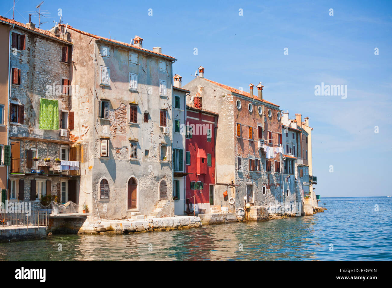 Old town architecture of Rovinj, Croatia. Istria - Stock Image