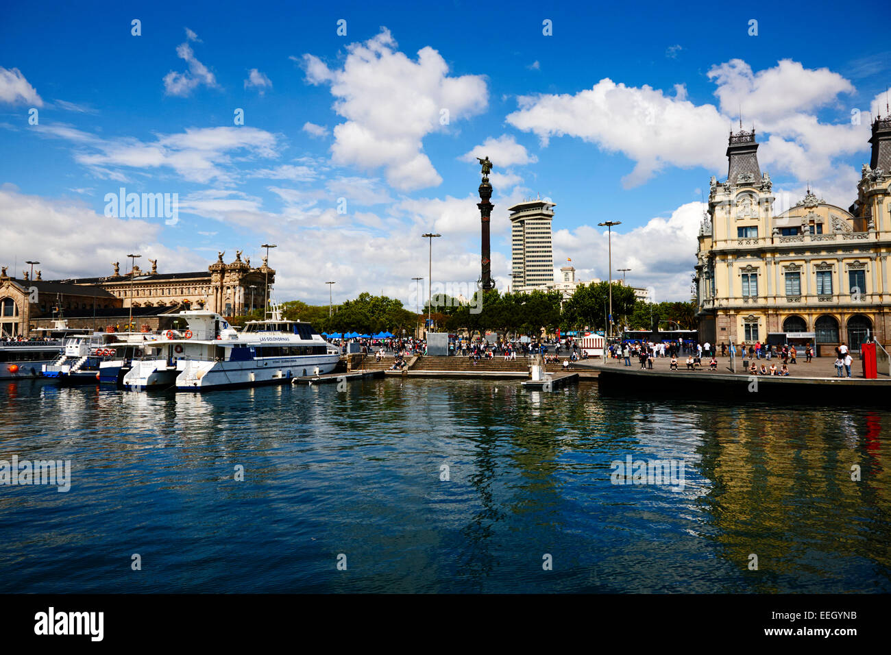barcelona port vell the old port waterfront including old customs house catalonia spain - Stock Image
