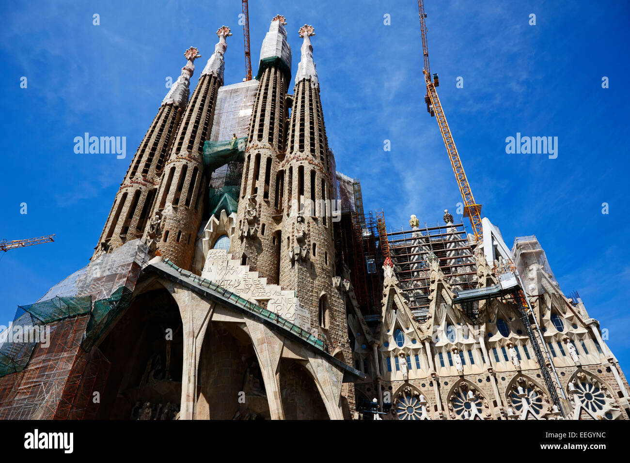 the passion facade of the Sagrada Familia Barcelona Catalonia Spain - Stock Image