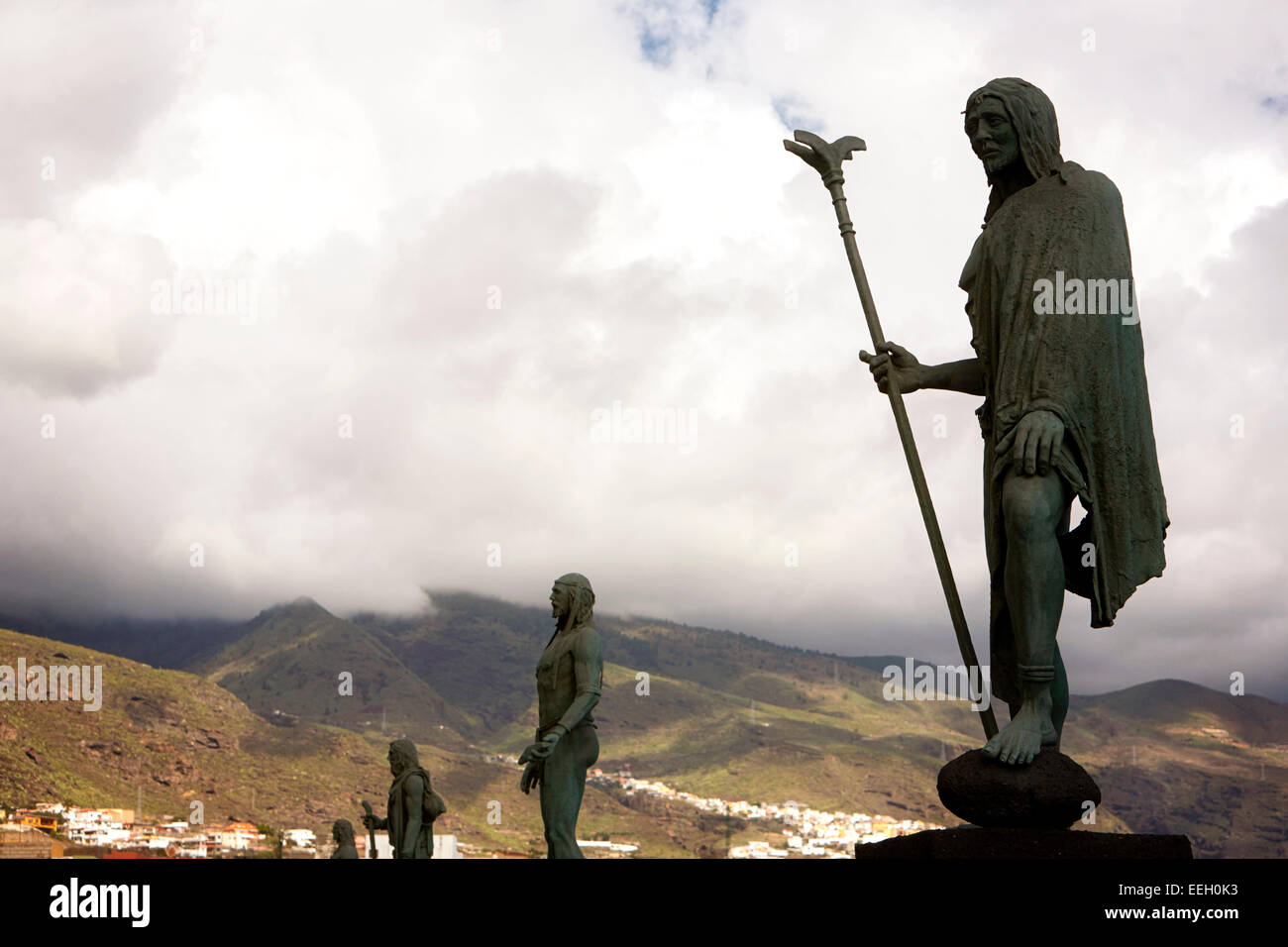 statues of the guanche chiefs with king mencey Tegueste in Candelaria the original inhabitants of tenerife canary - Stock Image