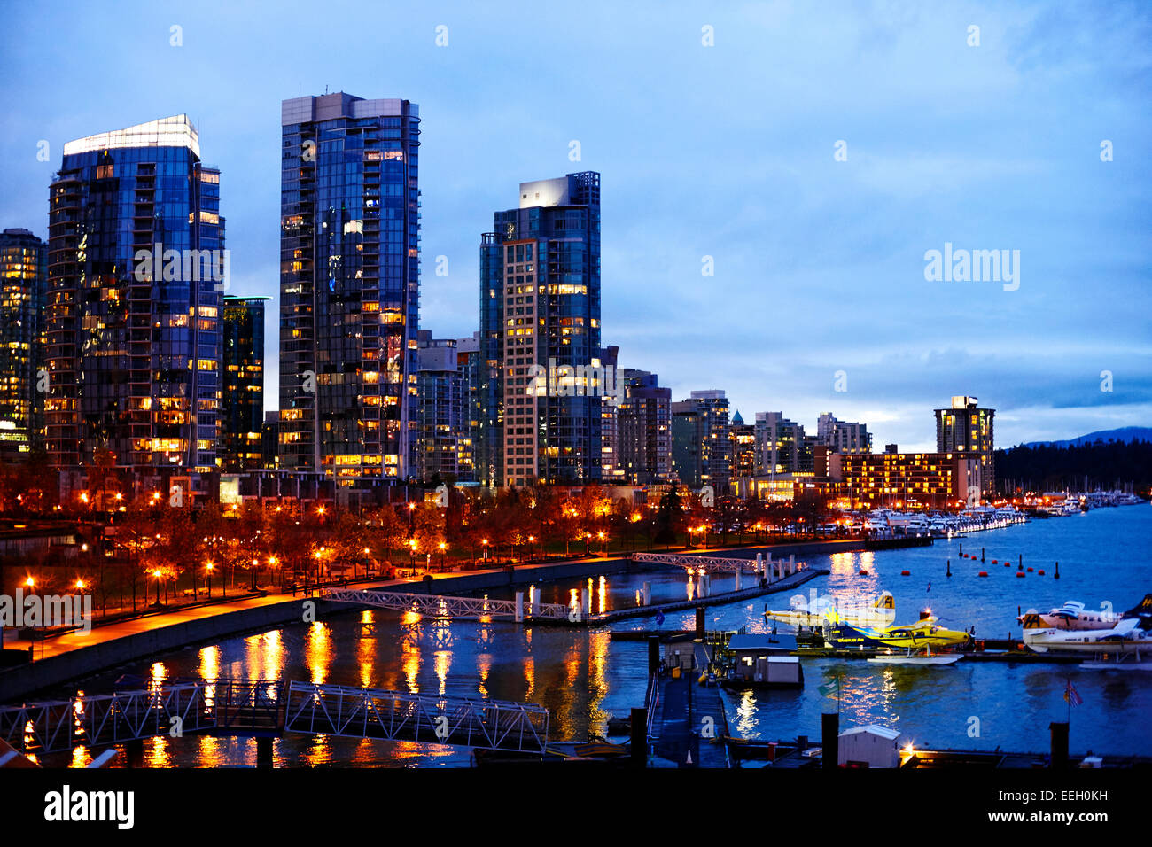 Coal Harbour Vancouver waterfront British Columbia Canada - Stock Image