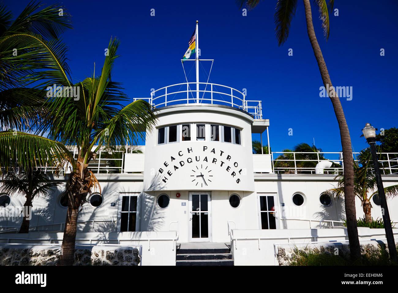 beach patrol headquarters in art deco district of miami south beach florida usa - Stock Image