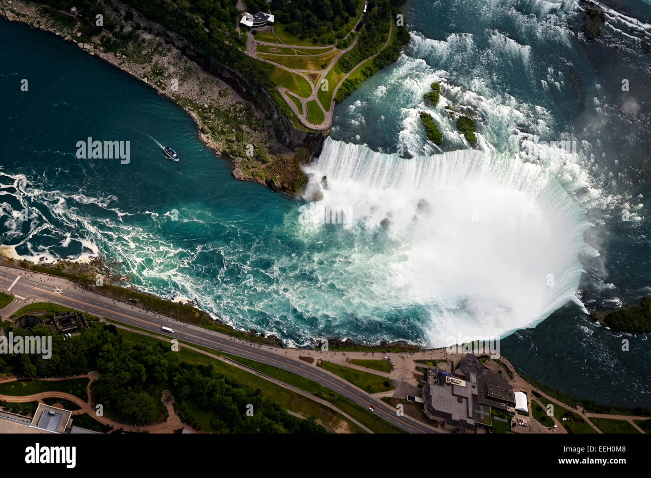 aerial view of the horseshoe falls from helicopter flight over niagara falls ontario canada - Stock Image