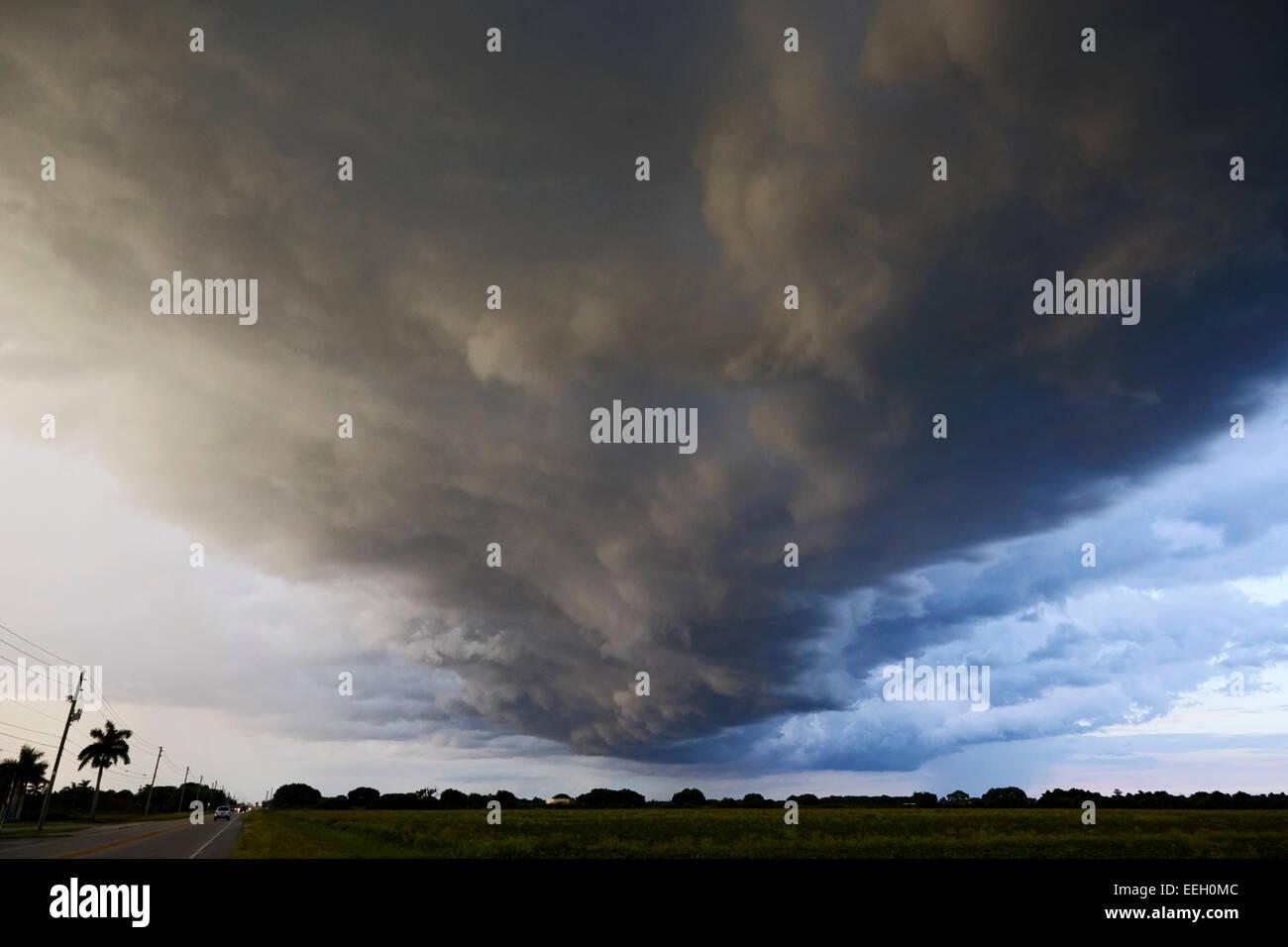 arcus cloud shelf cloud formation preceding a thunderstorm on farmland near the florida everglades usa - Stock Image