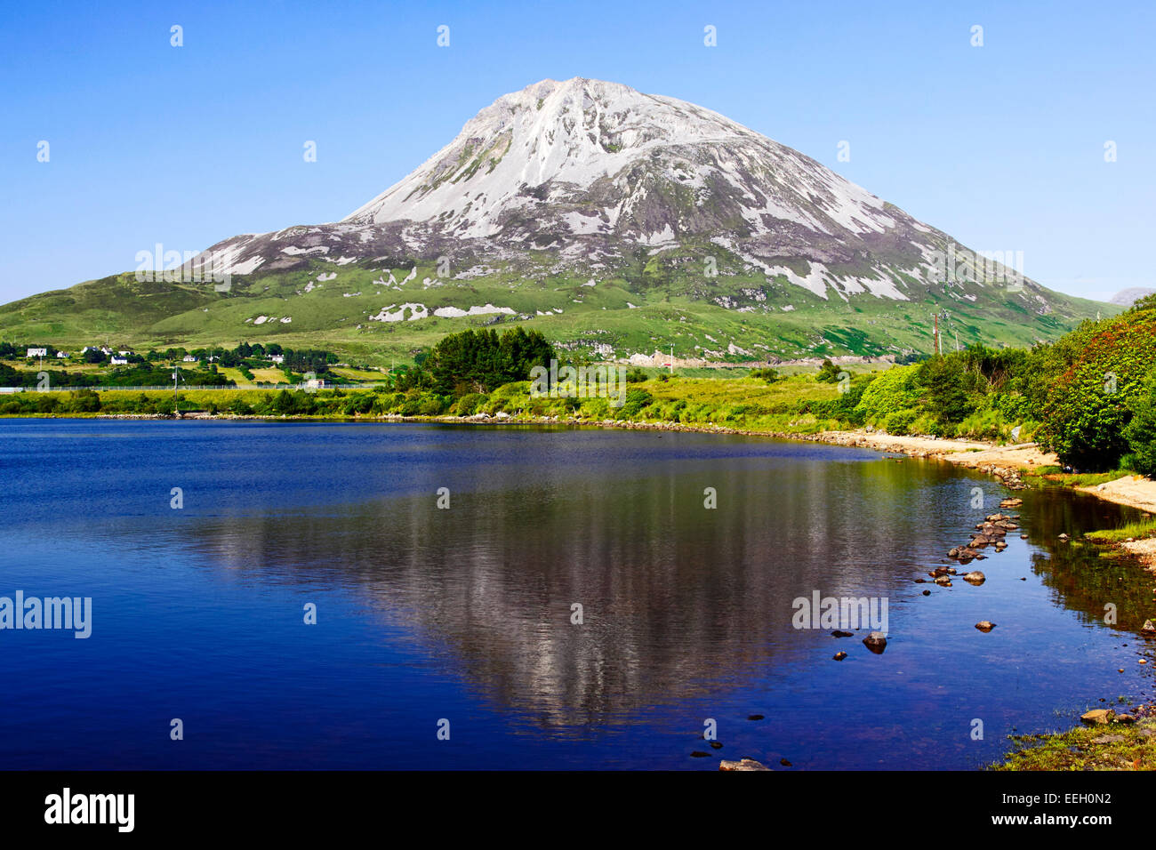 reflection of Errigal mountain in lough nacung upper County Donegal Ireland - Stock Image