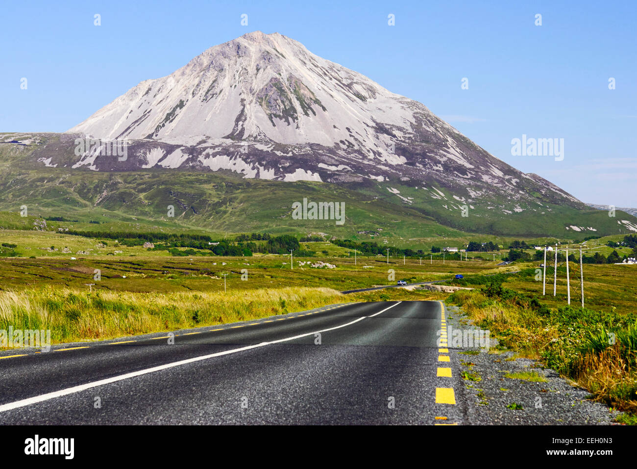 road through donegal past Errigal mountain in County Donegal Ireland - Stock Image