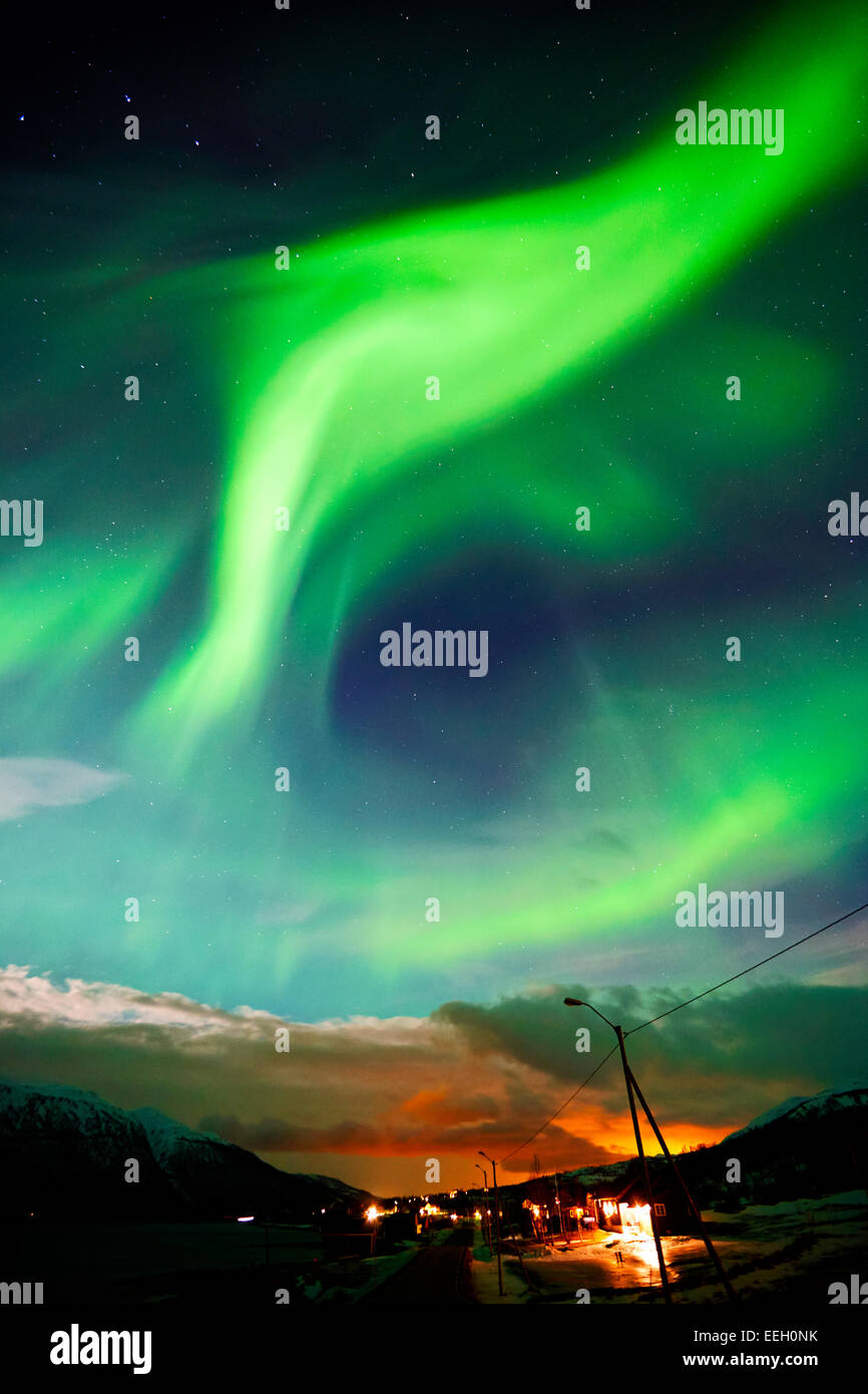aurora borealis northern lights in arctic Norway - Stock Image