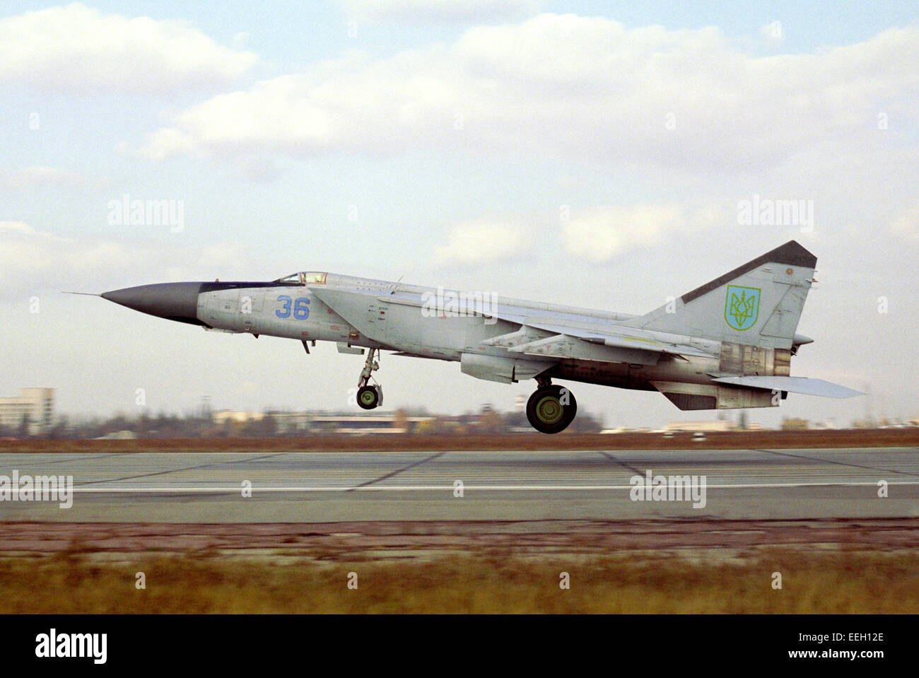 Supersonic all-weather fighter-interceptor MiG-25PD Ukrainian Air Force takes off. Air base in the city of Dnepropetrovsk. - Stock Image