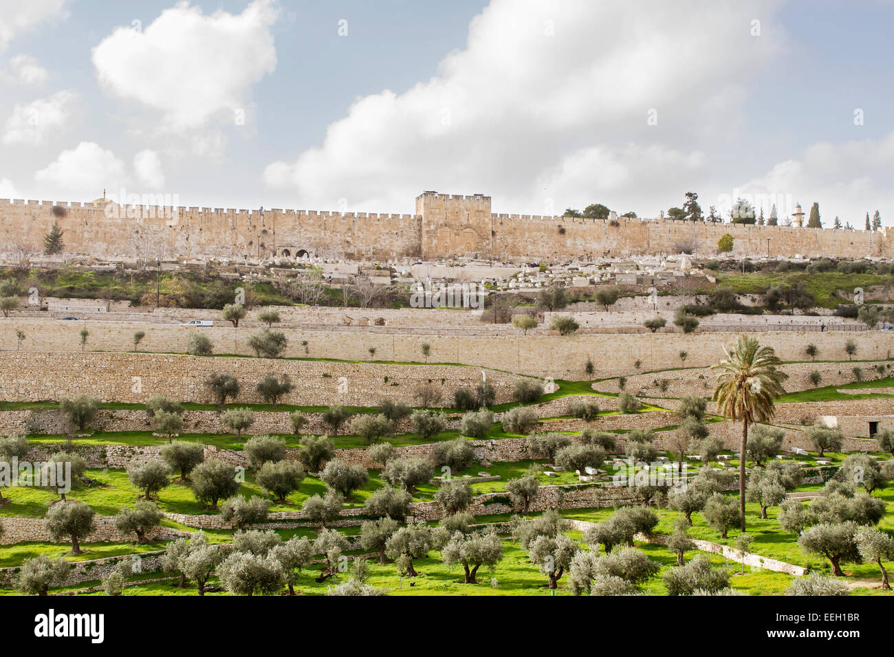 Golden gate to old Jerusalem city and Kidron Valley . Israel . Stock Photo