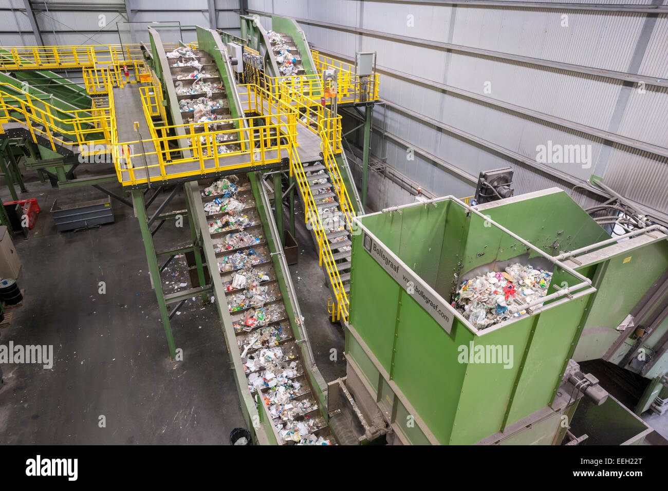 Machinery to process recyclables from the city's curbside recycling program at the Sims Municipal Recycling - Stock Image