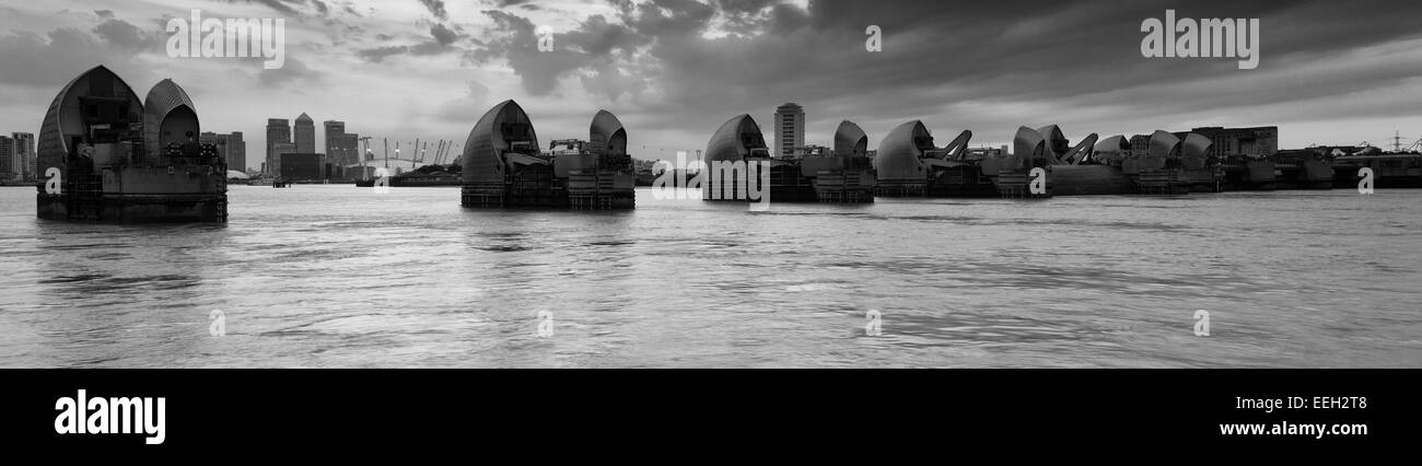 Thames Barrier Panorama - Stock Image